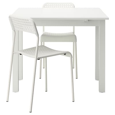 BJURSTA / ADDE Table and 2 chairs, white, 50 cm