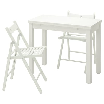 BJURSTA / TERJE Table and 2 chairs, white/white, 50 cm