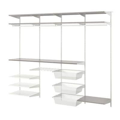 BOAXEL 4 sections, white/grey, 250x40x201 cm