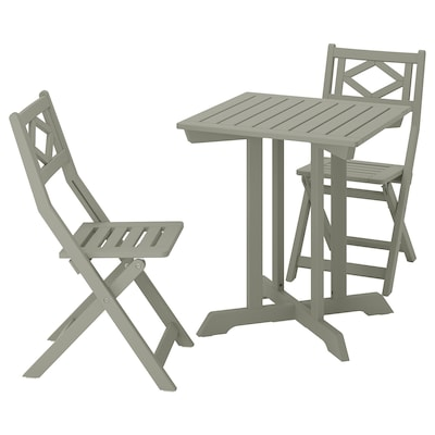 BONDHOLMEN Table+2 folding chairs, outdoor, grey stained