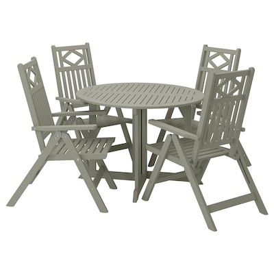 BONDHOLMEN Table+4 reclining chairs, outdoor, grey stained