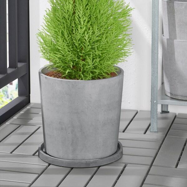 BOYSENBÄR Saucer, in/outdoor light grey, 27 cm