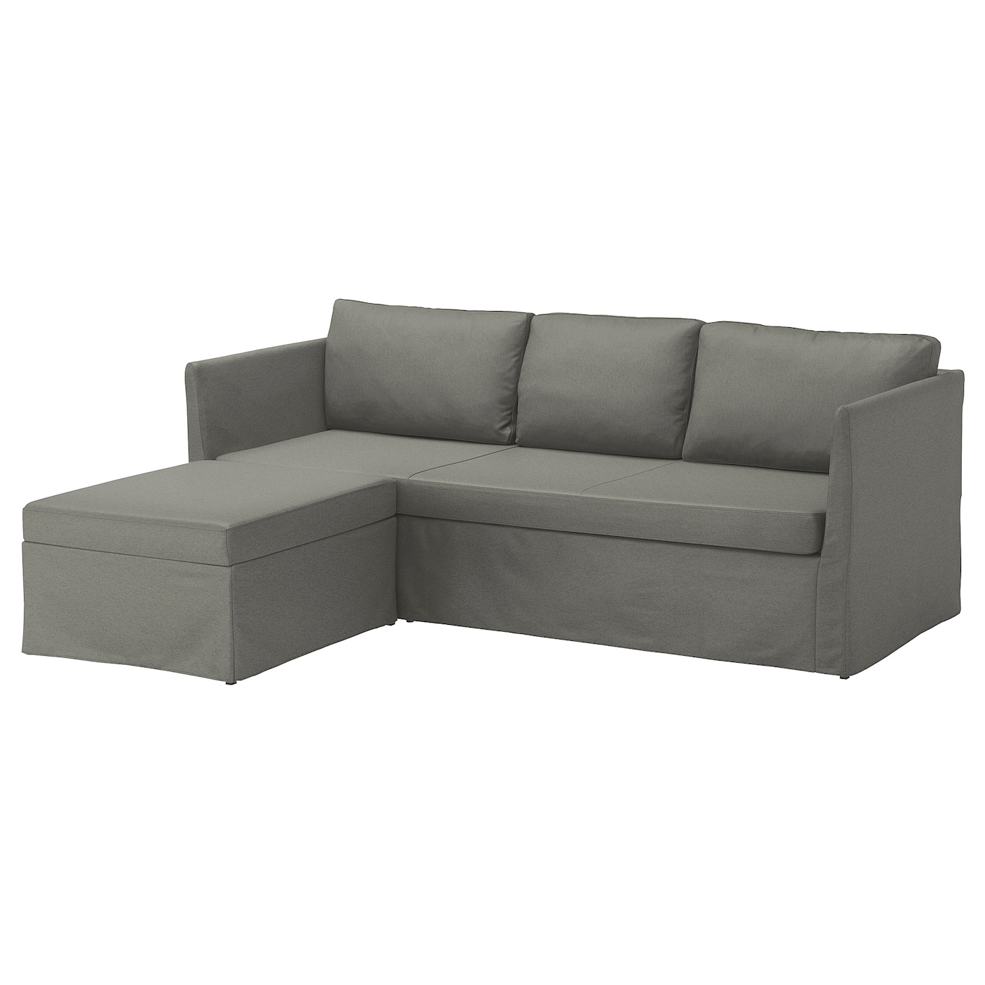 BRÅTHULT Corner sofa-bed, Borred grey-green