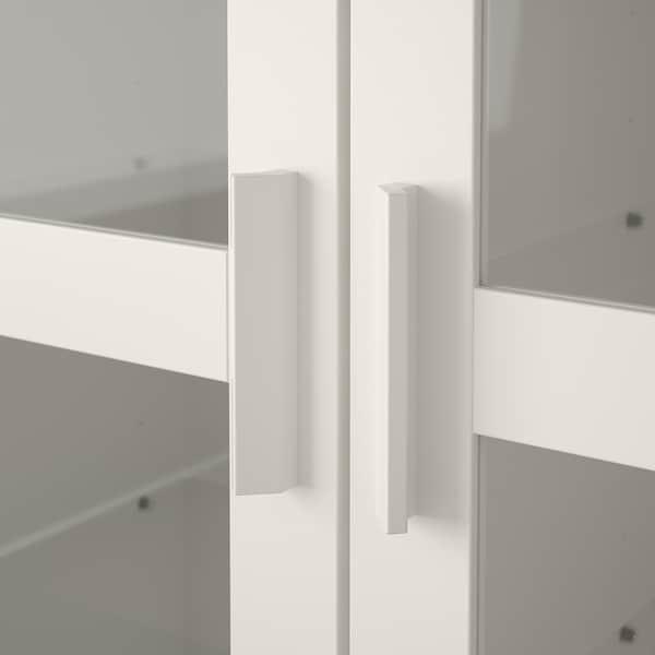 BRIMNES Glass-door cabinet, white, 80x190 cm