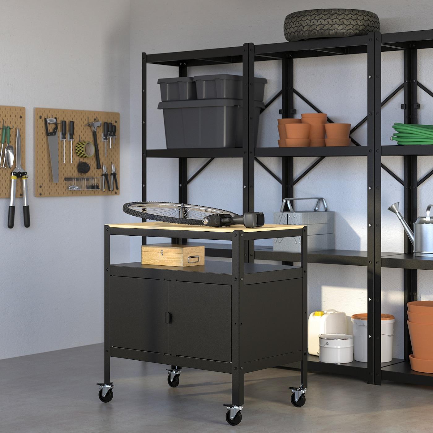 BROR trolley with closed storage black/wood 85 cm 55 cm 88 cm