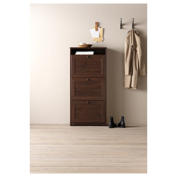 BRUSALI shoe cabinet with 3 compartments brown 61 cm 30 cm 130 cm