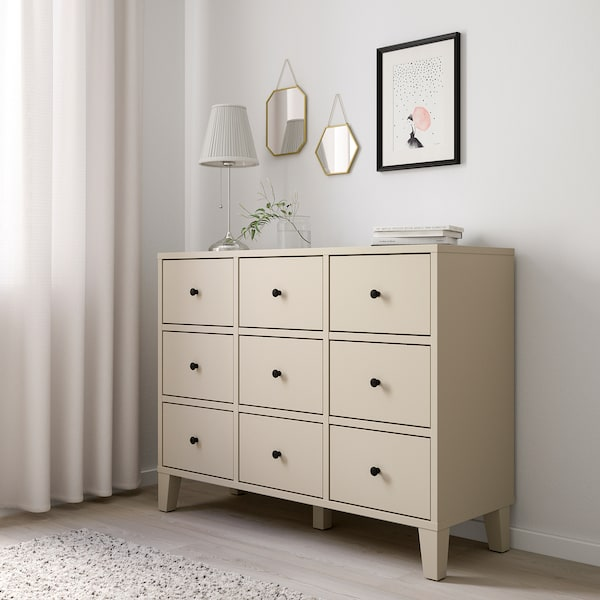 BRYGGJA chest of 9 drawers beige 118 cm 43 cm 92 cm 34 cm 34 cm 14.0 cm