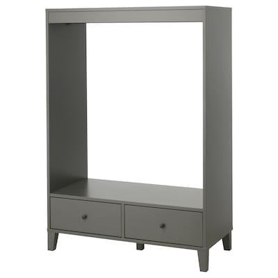 BRYGGJA Open wardrobe, dark grey, 120x173 cm