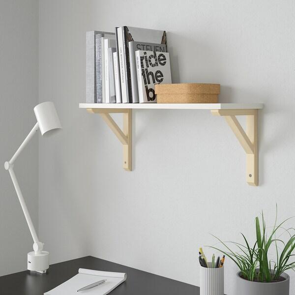 BURHULT / SANDSHULT Wall shelf, white/aspen, 59x20 cm