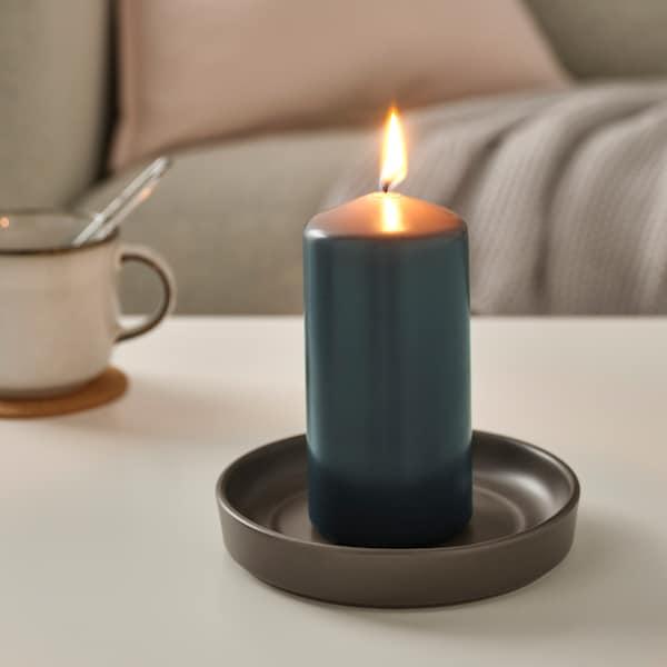 DAGLIGEN Unscented block candle, dark grey, 14 cm