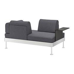 DELAKTIG 2-seat sofa with side table, Gunnared medium grey