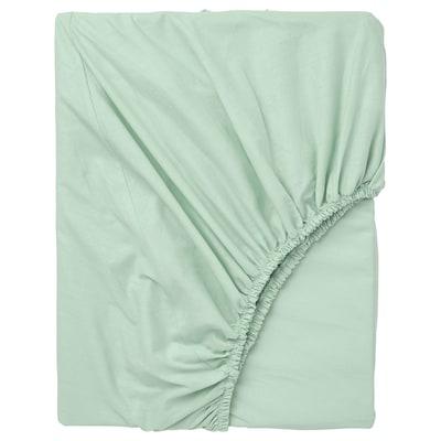 DVALA Fitted sheet, light green, 90x200 cm