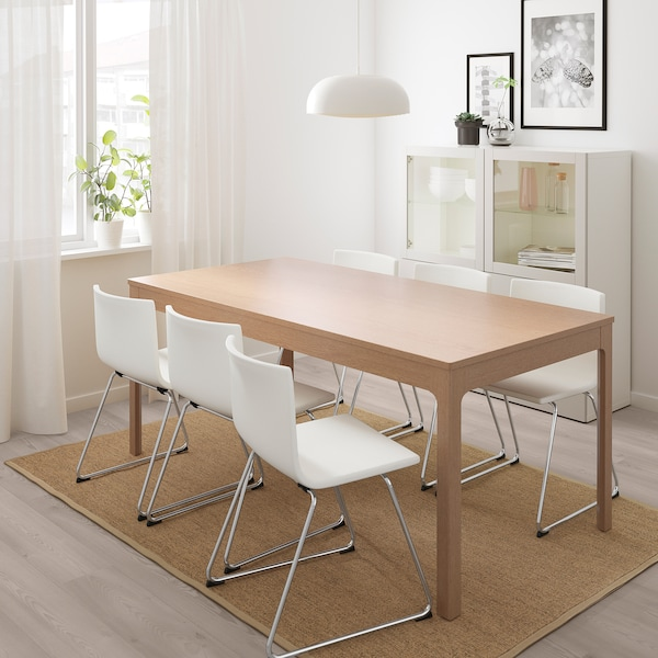 EKEDALEN / BERNHARD Table and 6 chairs, oak/Mjuk white, 180/240 cm