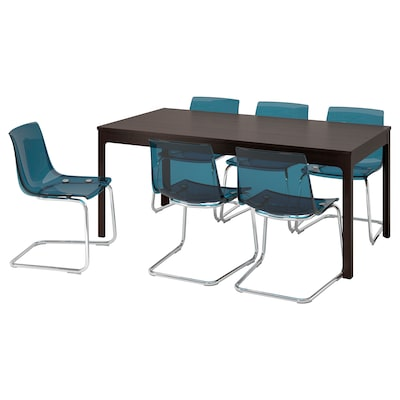 EKEDALEN / TOBIAS table and 6 chairs dark brown/blue 180 cm 240 cm