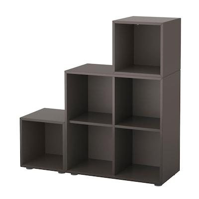 EKET Cabinet combination with feet, dark grey, 105x35x107 cm