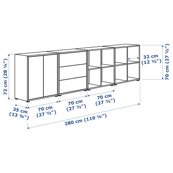 EKET Cabinet combination with feet, dark grey, 280x35x72 cm