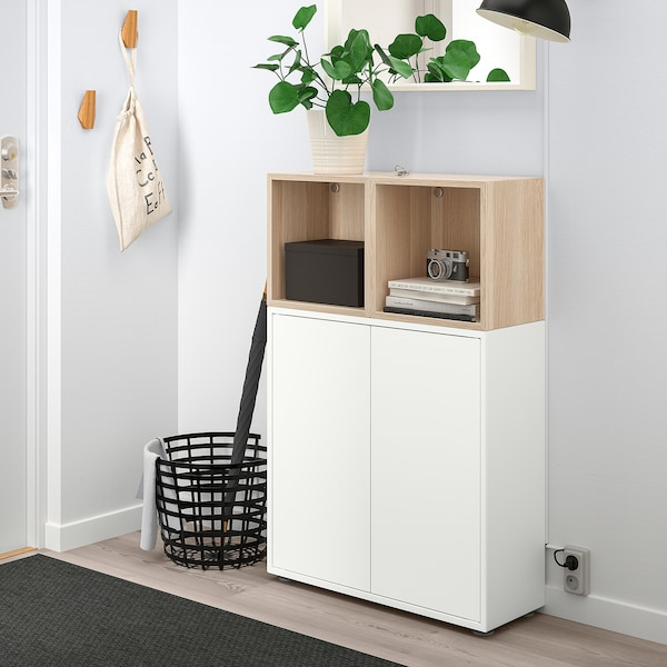 EKET cabinet combination with feet white/white stained oak effect 70 cm 25 cm 107 cm