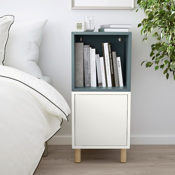 EKET Cabinet combination with legs, white grey-turquoise/wood, 35x35x80 cm