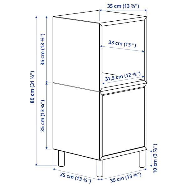 EKET Cabinet combination with legs, white light grey/wood, 35x35x80 cm