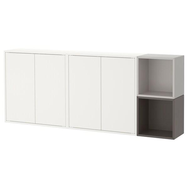 EKET Wall-mounted cabinet combination, white/dark grey/light grey, 175x25x70 cm