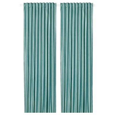 ELDTORN Room darkening curtains, 1 pair, grey-turquoise, 145x300 cm