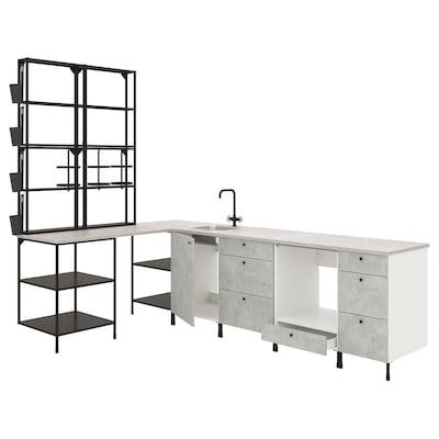 ENHET Corner kitchen, anthracite/concrete effect