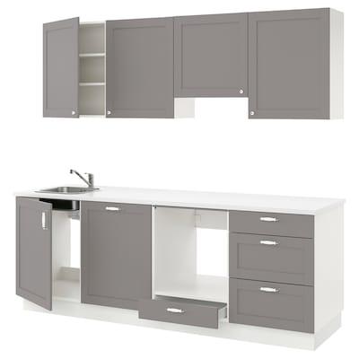 ENHET Kitchen, grey frame, 243x63.5x222 cm
