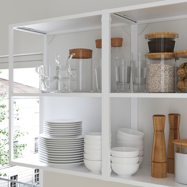 ENHET Kitchen, white/grey frame, 163x63.5x222 cm