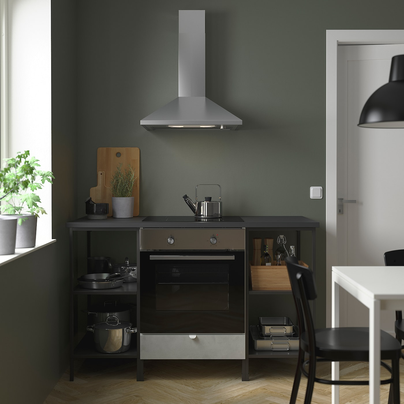 ENHET Storage combination for oven/hob, anthracite/concrete effect, 143x63.5x91 cm