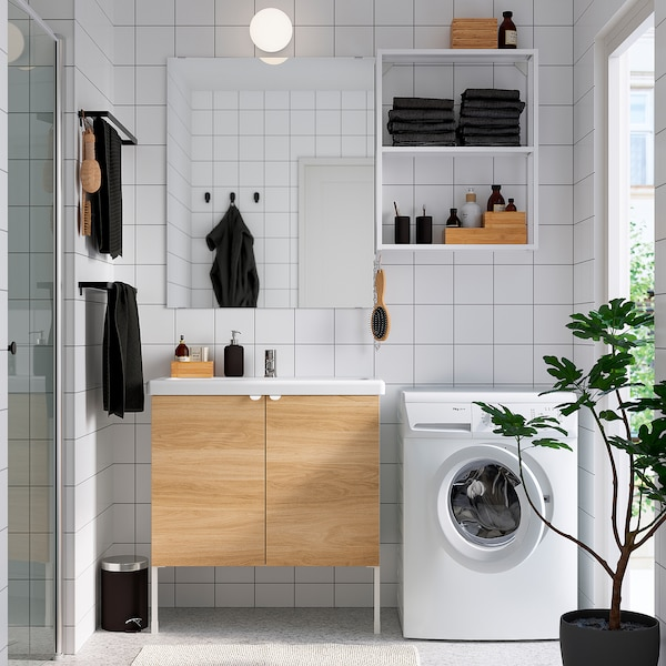ENHET / TVÄLLEN Bathroom furniture, set of 11, oak effect/white Pilkån tap, 84x43x87 cm