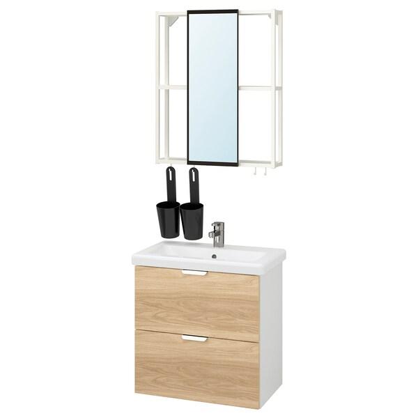 ENHET / TVÄLLEN Bathroom furniture, set of 13, oak effect/white Ensen tap, 64x43x65 cm