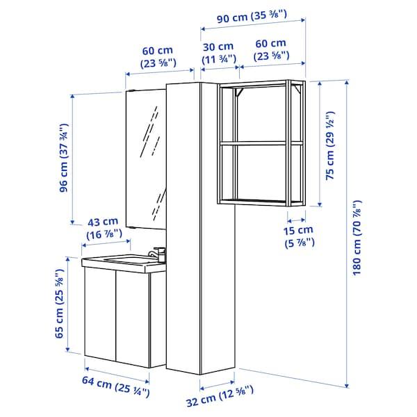 ENHET / TVÄLLEN Bathroom furniture, set of 13, white/anthracite Pilkån tap, 64x43x65 cm