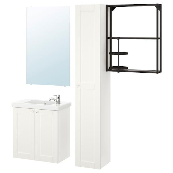 ENHET / TVÄLLEN Bathroom furniture, set of 13, white frame/anthracite Pilkån tap, 64x33x65 cm
