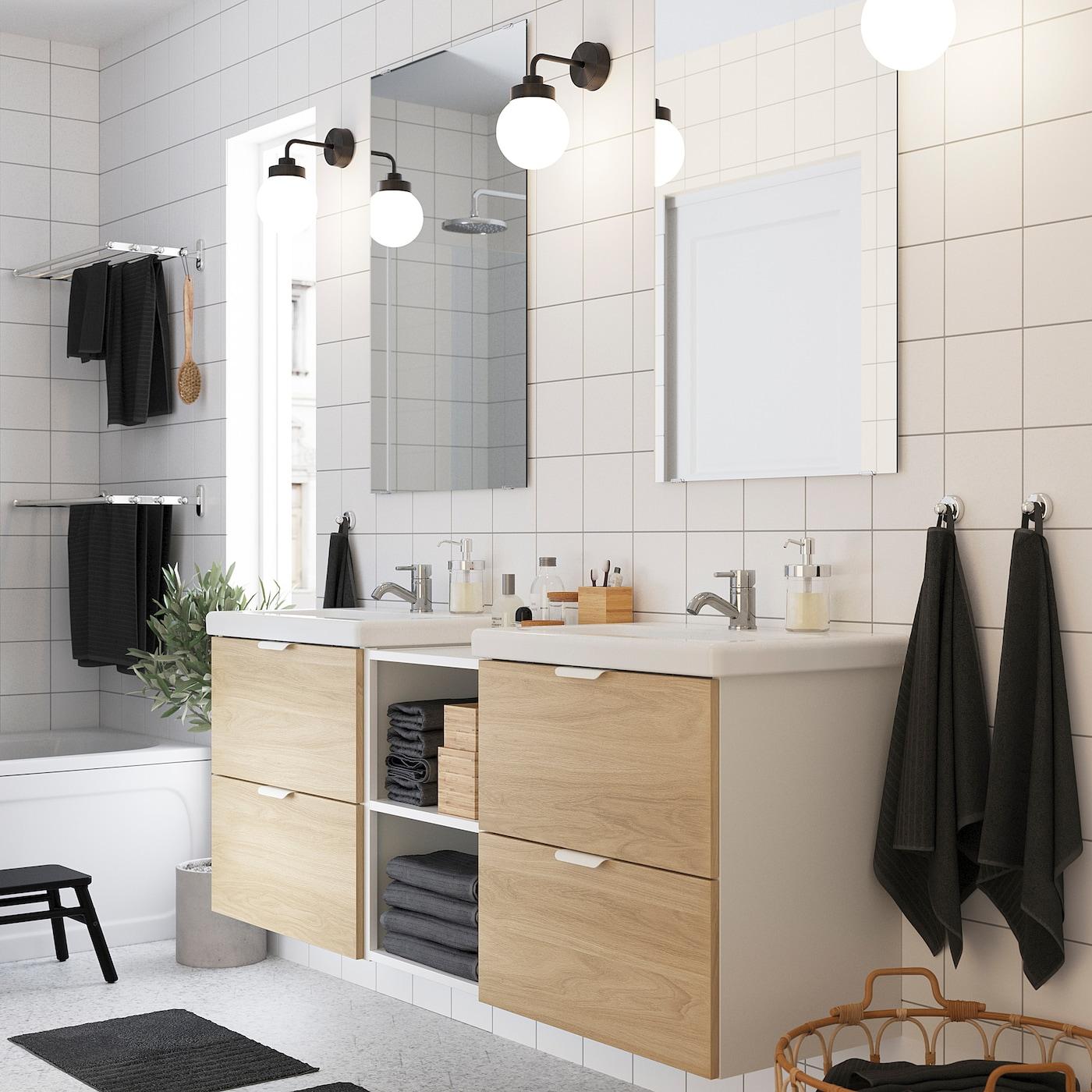 ENHET / TVÄLLEN Bathroom furniture, set of 15, oak effect/white Pilkån tap, 164x43x65 cm