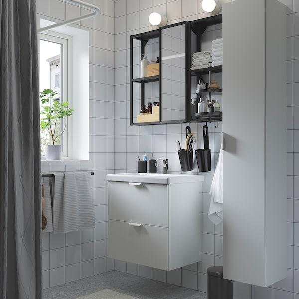 ENHET / TVÄLLEN Bathroom furniture, set of 18, white/anthracite Ensen tap, 64x43x65 cm