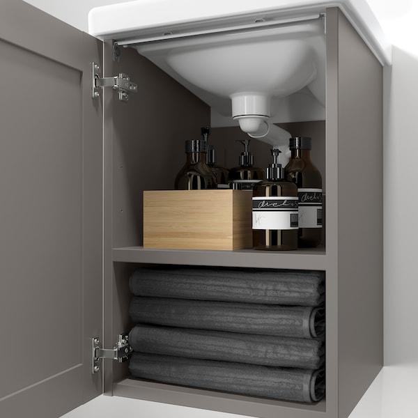 ENHET / TVÄLLEN Wash-basin cabinet with 1 door, grey frame/grey Pilkån tap, 44x43x87 cm