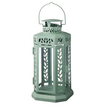ENRUM Lantern f block candle, in/outdoor, green, 28 cm
