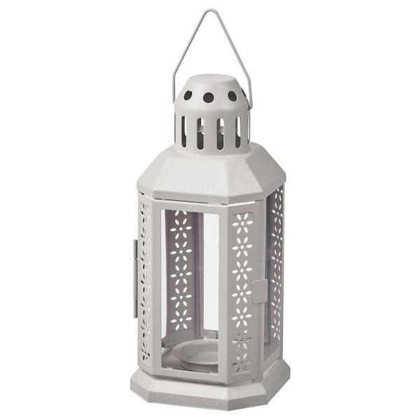 ENRUM Lantern for tealight, in/outdoor, grey, 22 cm