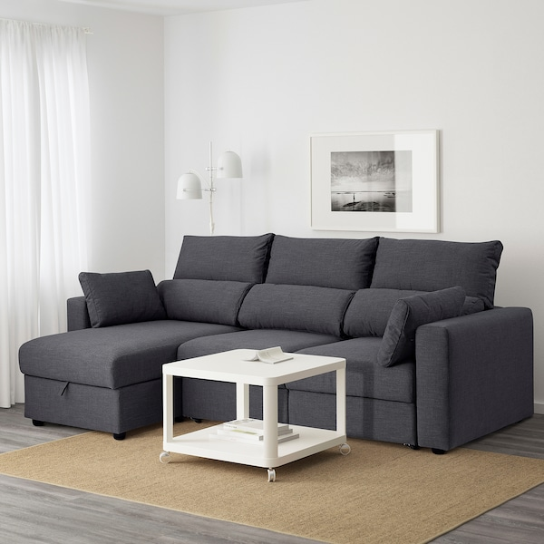ESKILSTUNA 3-seat sofa, with chaise longue/Hillared anthracite