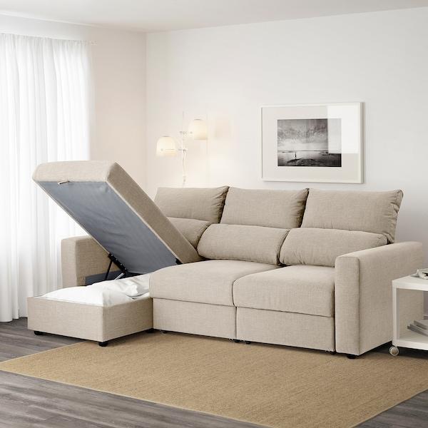 ESKILSTUNA 3-seat sofa, with chaise longue/Hillared beige