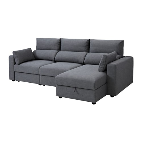 eskilstuna 3 seat sofa with chaise longue nordvalla dark grey nordvalla dark grey - Chaise Relaxante