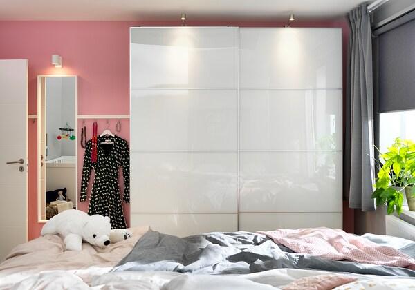 FÄRVIK 4 panels for sliding door frame, white glass, 75x236 cm