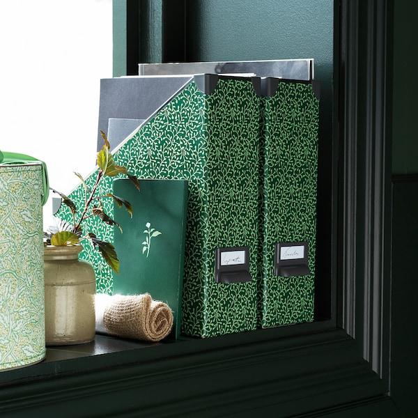 FJÄLLA Magazine file, green/flower patterned