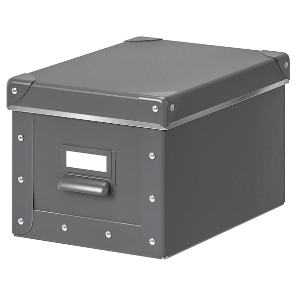 FJÄLLA Storage box with lid, dark grey, 18x26x15 cm