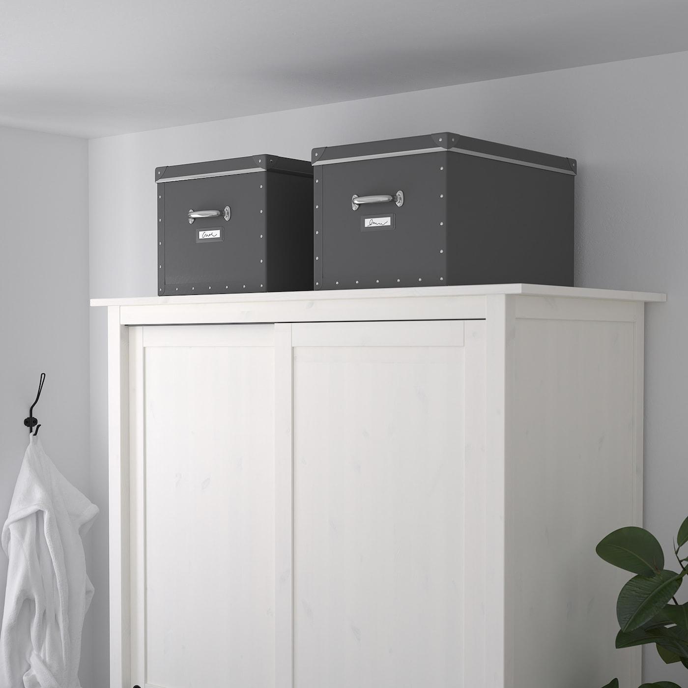 FJÄLLA Storage box with lid, dark grey, 35x56x30 cm