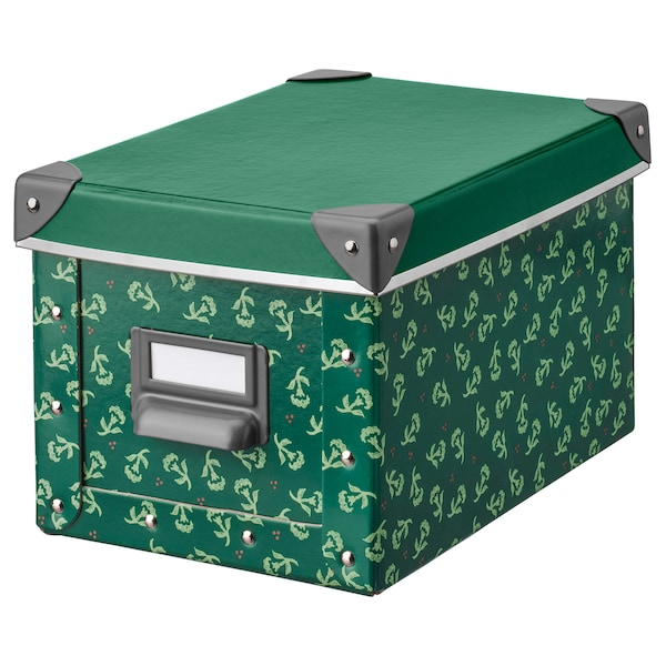FJÄLLA Storage box with lid, green/flower patterned, 18x26x15 cm