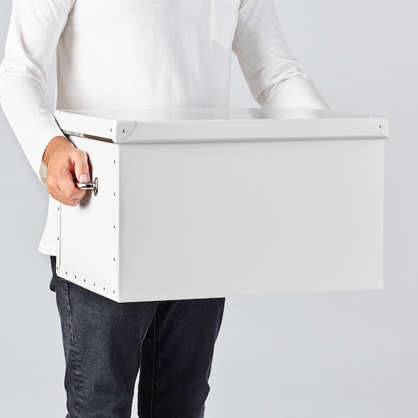 FJÄLLA Storage box with lid, white, 35x56x30 cm