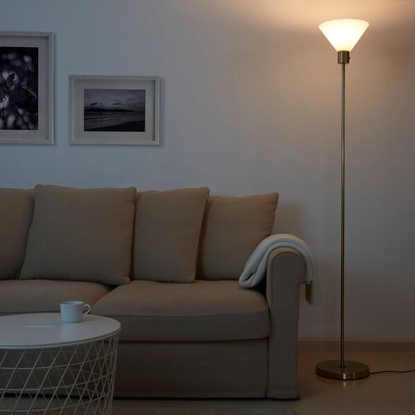 FLUGBO Floor uplighter, brass-colour/glass