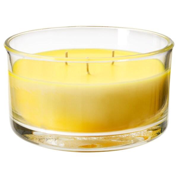 FOLKRIK scented candle in glass, 3 wicks lemonade/yellow 7 cm 13.5 cm 25 hr