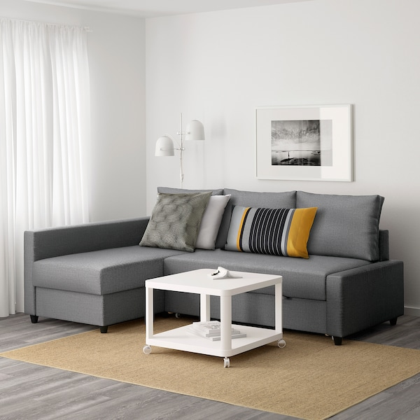 FRIHETEN corner sofa-bed with storage Skiftebo dark grey 230 cm 151 cm 66 cm 140 cm 204 cm